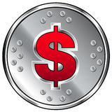 Shiny industrial vector button with dollar icon. Shiny industrial vector button with red dollar sign icon Stock Photo