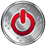 Shiny industrial vector button with power icon. Shiny industrial vector button with red computer power icon Stock Photos
