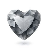Shiny isolated diamond heart shape on white Stock Photos