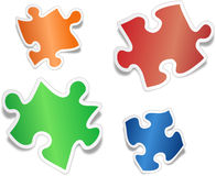 Shiny jig saw puzzle pieces Stock Images