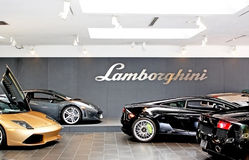 Shiny Lamborghinis On Sales Floor Stock Image