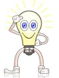 Shiny lamp smilling. Differentiation of a shiny lamp smilling with thumb up Royalty Free Stock Images