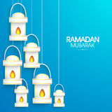 Shiny lamps for holy month Ramadan Kareem celebration. Royalty Free Stock Photo