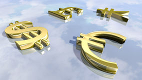Shiny leading money signs. 3D rendering. 3D rendering of leading money signs. An image of gold shiny pound, euro, dollar and yen images at a bright background Stock Photos