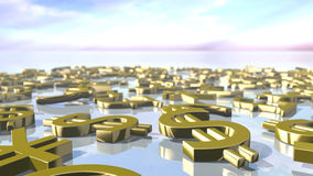 Shiny leading money signs piled up. 3D rendering. 3D rendering of leading money signs. An image of gold shiny Pound, Euro, Dollar and Yen images piled up at a Stock Images