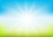 Shiny light on blue background Royalty Free Stock Image