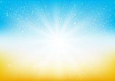 Shiny light on blue and orange background Stock Images