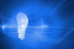 Shiny light bulb on blue background Stock Photo
