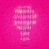 Shiny Light Bulb Idea on Pink Background Stock Photography