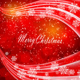 Shiny light effects with blurry lights and glittering snowflakes in shades of red a wavy contour. Great for the festive Stock Image