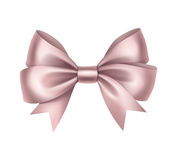 Shiny Light Pink Satin Gift Bow  Royalty Free Stock Images