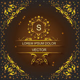 Shiny lights corporate style, logo, ornament. Elegant corporate style card with pattern on brown background, logo floral design, decorated shiny lights. Vector Stock Photos