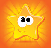 Shiny little happy star smiling. On dynamic background, positive illustration Stock Photo