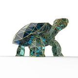 Shiny luxury crystal sapphire galapagos tortoise with edges framed golden wire, isolated Stock Photo