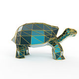 Shiny luxury crystal sapphire galapagos tortoise with edges framed golden wire, isolated Royalty Free Stock Photos