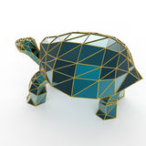 Shiny luxury crystal sapphire galapagos tortoise with edges framed golden wire, isolated Royalty Free Stock Images