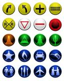 Shiny map icons Royalty Free Stock Photo