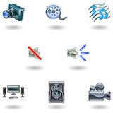 Shiny Media Icons Stock Photography