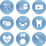 Shiny medical icons in vector. A set of shiny glossy medical icons Royalty Free Stock Photo