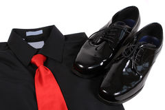 Shiny men's dressy shoes, shirt and tie Stock Images