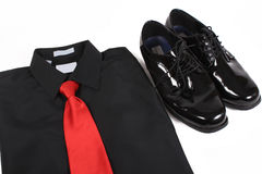 Shiny men's dressy shoes, shirt and tie Stock Image