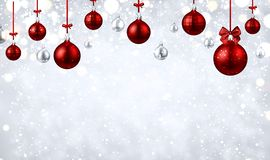 Shiny Christmas and New Year background with red Christmas balls. Shiny Merry Christmas and Happy New Year poster with red Christmas balls and snow. Vector royalty free illustration
