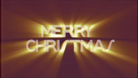 Shiny MERRY CHRISTMAS word text light rays moving on old vhs tape retro effect tv screen animation background seamless. Text on old tv interference screen stock footage
