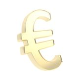 Shiny metal euro golden symbol emblem isolated Royalty Free Stock Image