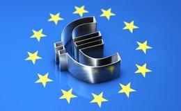 Euro symbol lying on the flag of the european union. Shiny metal euro symbol lying on the flag of the european union Royalty Free Stock Photo