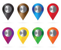 Shiny metal location icons Colorful. Map Pointers. Round shape Royalty Free Stock Photography