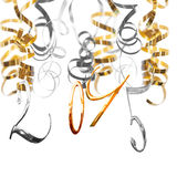 2015 shiny metal numbers hanging on silver and gold serpentine streamers. Isolating on white background royalty free stock photo