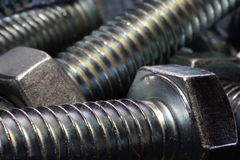 Shiny metal nut and bolt. Closed-up Stock Image