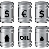 Shiny Metal Oil Barrels With Symbols. A detailed vector set of shiny silver oil barrels with currency and other symbols Stock Photo