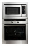 Shiny Metal Oven. Modern metallic oven and microwave isolated on white Stock Image