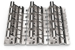 Shiny metal parts made of steel on a white background. 3D illustration. Stock Photos
