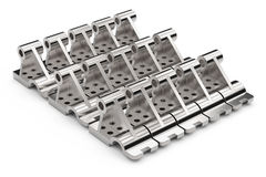 Shiny metal parts made of steel on a white background. 3D illustration. Stock Image