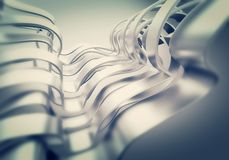 Shiny metal plate wave abstract background Stock Images