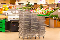 Shiny Metal Shopping Basket Stacks Royalty Free Stock Images