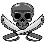 Shiny metal skull with crossed swords, pirate style stock illustration