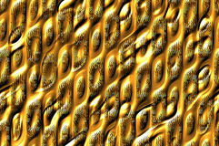 Shiny metallic cells texture - golden. Abstract textured metallic background with the shiny cells relief pattern Royalty Free Stock Photo