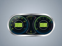 Shiny metallic speedometer and rev counter Royalty Free Stock Images