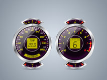 Shiny metallic speedometer and rev counter Royalty Free Stock Photography