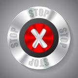 Shiny metallic stop button Stock Photo