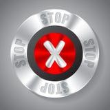Shiny metallic stop button Stock Photo