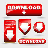 Shiny minimal red download now button collection Stock Photos