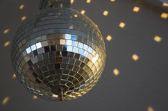 Shiny mirror ball #2. Rotated shiny mirror ball in nightclub Royalty Free Stock Photos