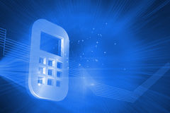 Shiny mobile phone on blue background Stock Photos