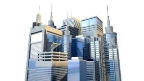 Shiny Modern City Cluster Stock Photo