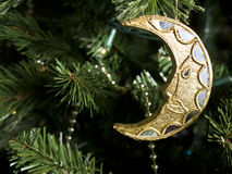Shiny Moon Christmas Ornament Royalty Free Stock Photography