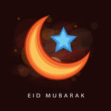 Shiny moon and star for Eid festival celebration. Elegant greeting card design with shiny crescent moon and blue star on brown background for holy Islamic Stock Image